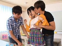Kokoro Kawai Asian is touched over blouse and in p...