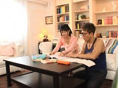Kokoro Kawai Asian has nipples sucked by her homew...