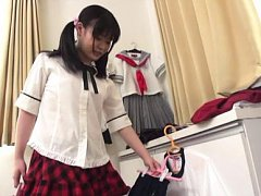 Japanese AV Model shows hot butt in panty while un...