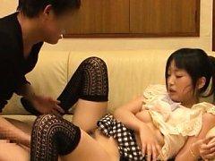 Japanese AV Model in long socks fools around with...