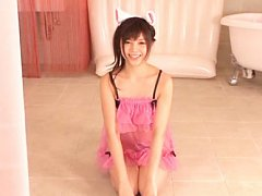 Rina Itou Asian in fluffy lingerie fondles her can...