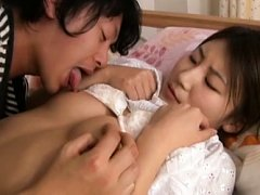 Rino Akane Asian has nipples licked and crack touc...