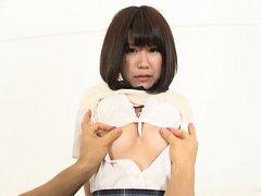 Mizuki Kiriya Asian sucks dude finger and has nipp...