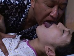 Marin Aono Asian has man tongue stuck in her mouth...