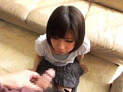 Koharu Aoi Asian in white blouse and short skirt l...
