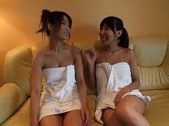 Japanese AV Model and doll get oil on nasty tittie...