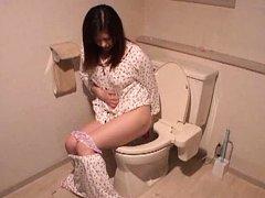 Jun Sena Asian in pajamas fucks her asshole with d...