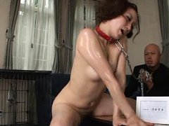 Yuu Kawakami Asian in leash and all oiled waits to...