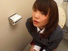 Japanese AV Model Asian teen uses toilet and gets...