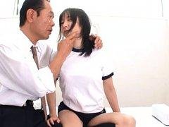 Ren Misaki Asian has juicy hooters fondled and suc...