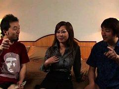 Japanese AV Model in a hotel room with two guys in...