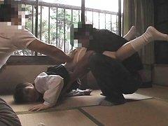 Asami Fujimoto uniform and panties ripped off by t...