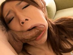 Aoi Yuuki sucking two cocks before getting her ass...