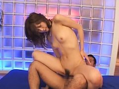 Chihiro Hara Asian chick jumps on her guy for a ha...
