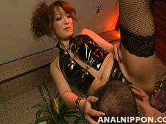 Aiko Nagai as a sexy domme forcing him to lick her...