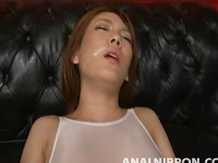 Rei has cum on her face as her ass is fucked with...