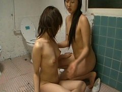 Hot Asian Girl getting off while eating some hot w...