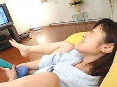 Rinako Hirasawa gets turned on by using vibrators...