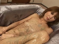 Rika Sakurai Asian babe is covered in syrup and ma...