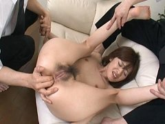 Kanon Hanai Asian chick is double penetrated with...