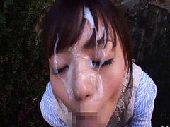 Aino Kishi Asian sucks boner and gets sperm on fac...
