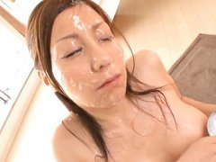 Chihiro Akino Asian has cum poured all over her fa...