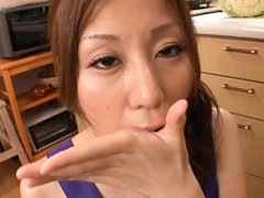 Chihiro Akino Asian in mauve dress has tits fondle...