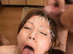 Chihiro Akino Asian sucks tool till sperm is on he...