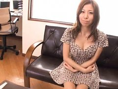 Chihiro Akino Asian in mauve dress watches at hers...