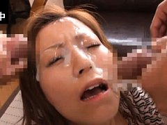 Chihiro Akino Asian gets lots of cum on face from...