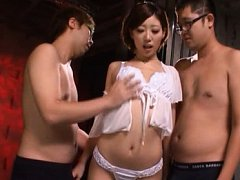Makoto Yuuki Asian has cans touched over blouse an...