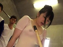 Riona Minami Asian is touched with stick over see...