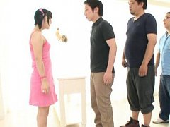 Japanese AV Model in pink dress masturbates boner...