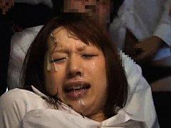 Japanese AV Model gets dicks in mouth and cum on f...