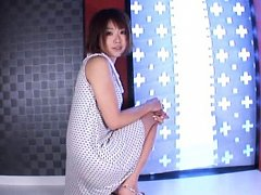 Saki Ninomiya Asian licks man feet and rubs his di...