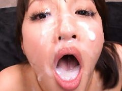 Rola Aoyama Asian gets a lot of sperm on face from...
