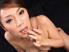 Asami Ogawa Asian with cum on her face takes anima...