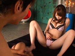 Akiho Yoshizawa rubs her pussy in thong as fellow...