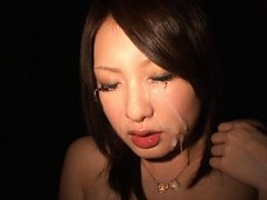 Saki Yano Asian has sperm on face looking like com...
