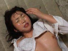 Aya Shiraishi Asian with nude knockers has face co...