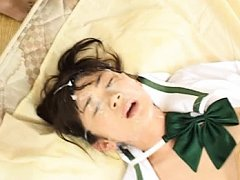 Asuka Ohzora Asian tries to lick some of the cum s...