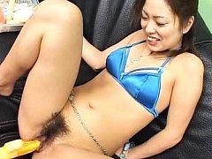 Yukari Mayama Asian with blue bra is happy to get...