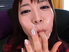 Ren Misaki Asian licks and eats the sperm she rece...