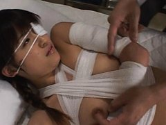 Asuka Sawaguchi with body full of bandages is fond...