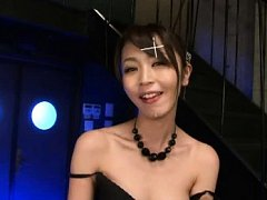 Marika Asian with beads and black lingerie has spe...