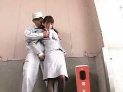 Japanese AV Model has cans fondled in office suit...