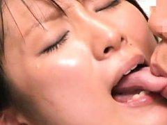 Japanese AV Model has tongue sucked and sucks hard...