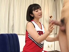 Wakaba Onoue Asian cheerleader strokes and sucks p...
