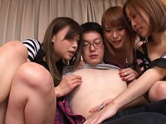 Japanese AV Model play with and suck same cock wit...
