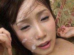 Minami Kojima Asian has cum on mouth corners after...